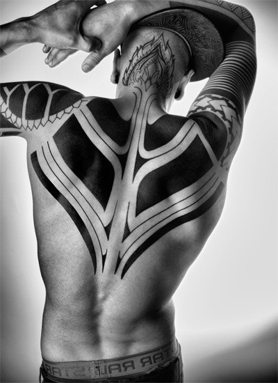 Blackwork flame flowe tattoo picture for men