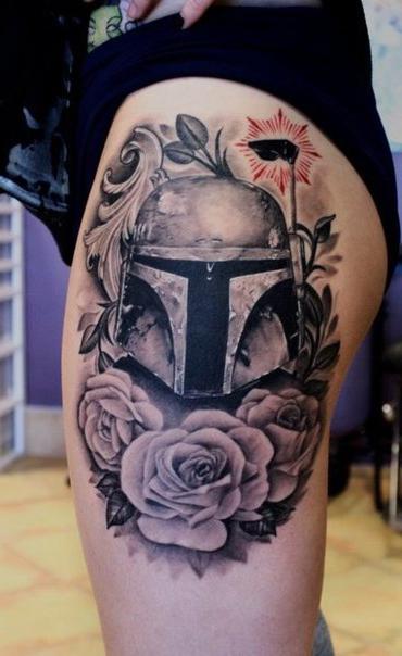 Graphic Boba Fett Star Wars tattoo on hip