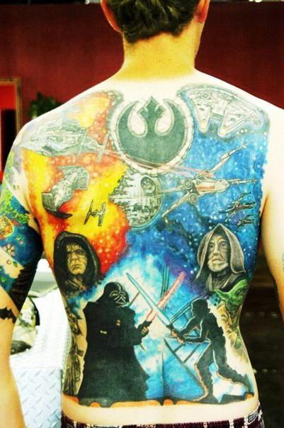 Light Side vs dark Side Star Wars tattoo