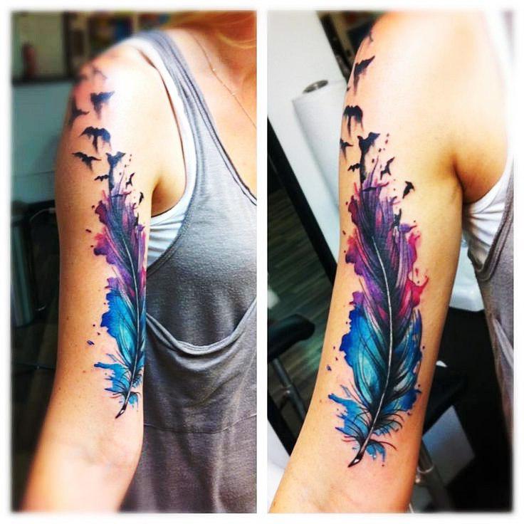Single Feather tattoo