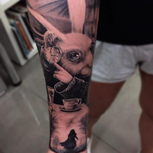 Alice Rabbit Realistic tattoo by Drew Apicture