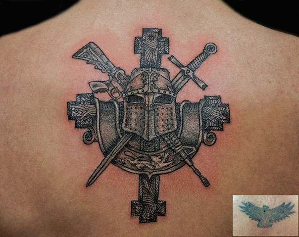Armor Helmet Cover Up tattoo design