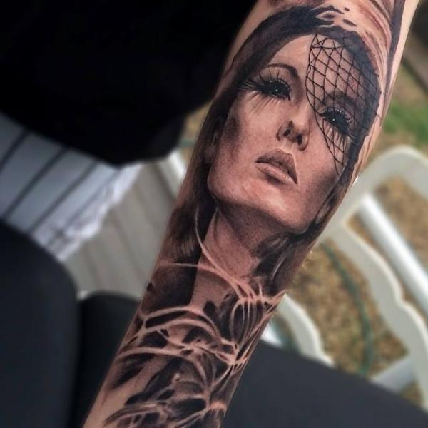 Asian Girl Face Realistic tattoo by Jak Connolly
