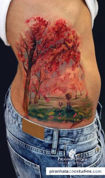 Autumn Landscape Painting tattoo