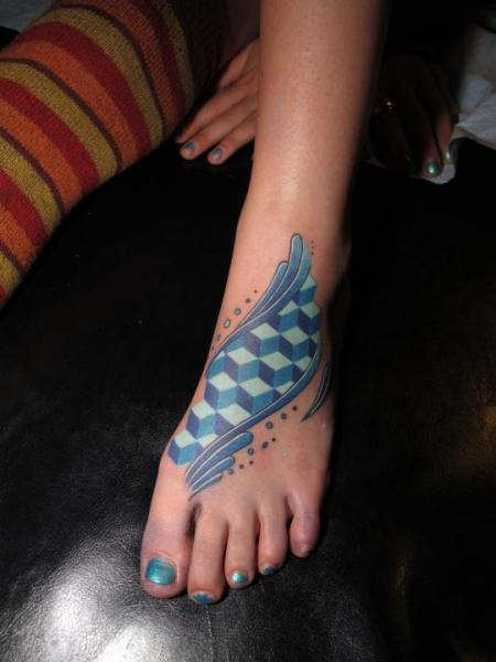 Blue Cubes Fott tattoo by Corey Divine