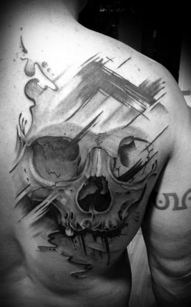 Brusk Strokes Trash Polka Scull tattoo by Westfall Tattoo