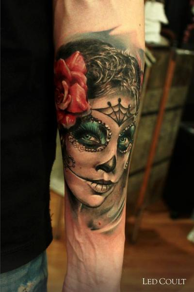 Chicano Girl Face Realistic tattoo by Led Coult