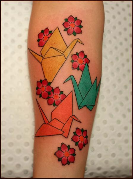 Crane Origami Japanese tattoo by Chapel tattoo