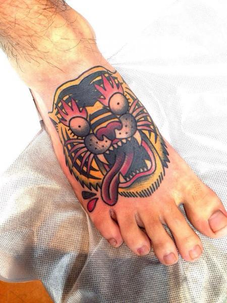 Crazy Fire Eyes Tiger tattoo by Chopstick Tattoo