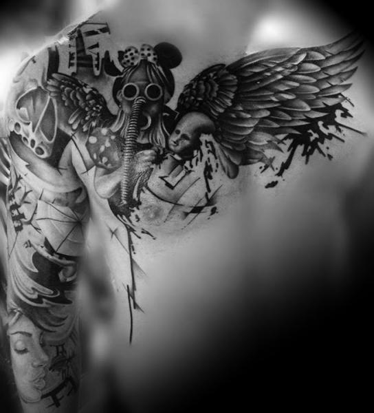 Dark Angel Gas Mask Girl Blackwork tattoo by Westfall Tattoo