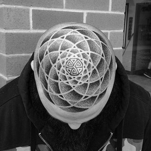 Dotwork Infinity head tattoo design