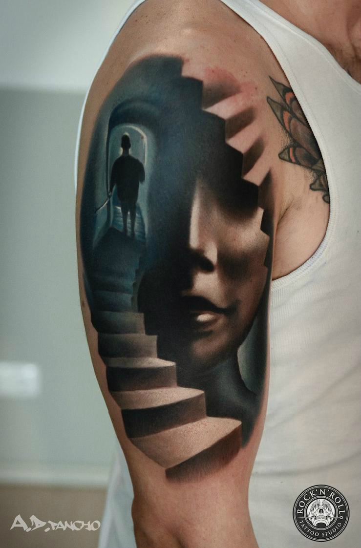 Down the Stairs 3d tattoo by AD Pancho