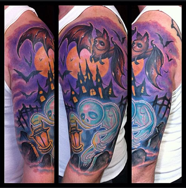 Exhausted Dark Forces Bat and Ghost tattoo by The Art of London