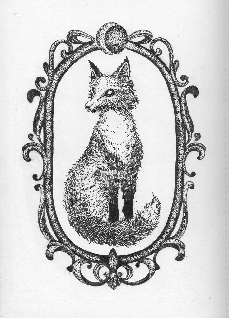 Fox in Frame Dotwork tattoo sketch