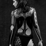 Full Body Scales Blackwork tattoo for girl