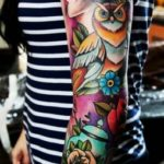 Girl and Owl tattoo sleeve