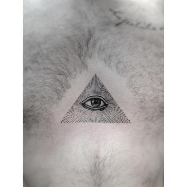 Graphic Eye of Providence tattoo by Dr Woo