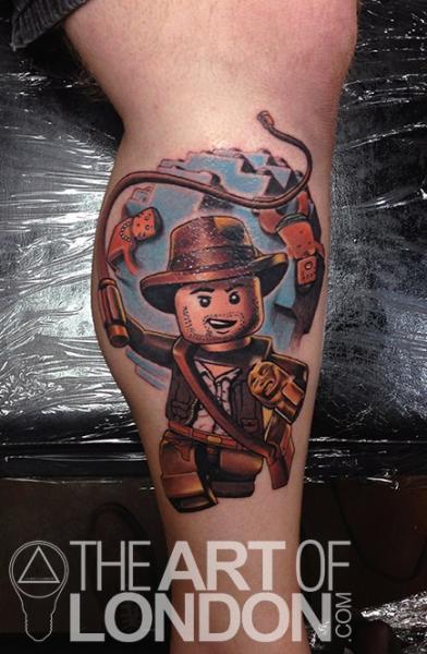Indiana Jones Lego tattoo by The Art of London