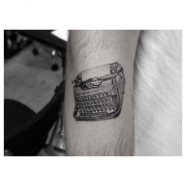 Little Typing Machine tattoo by Dr Woo