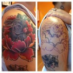 Lotus Rabbit Cover Up tattoo on Shoulder