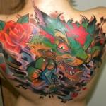 Mean Green Cat New School tattoo on Back