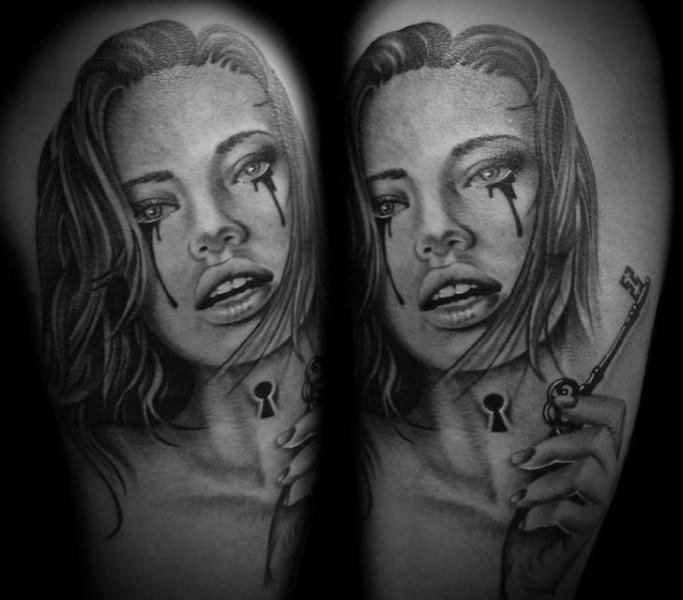 Neck Lock Girl Realistic tattoo by Westfall Tattoo