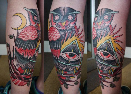 Owl Eye of Providence New School tattoo by Marked For Life