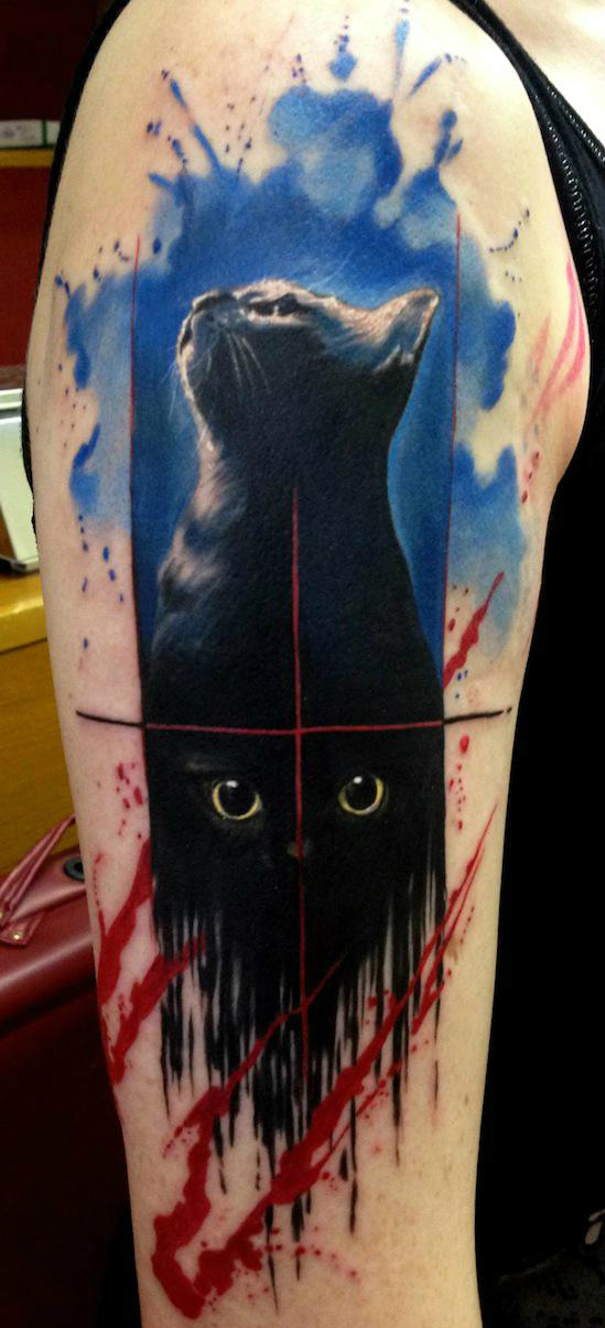 Paint Flowed Black Cat Trash Polka Aquarelle tattoo by Adam Kremer