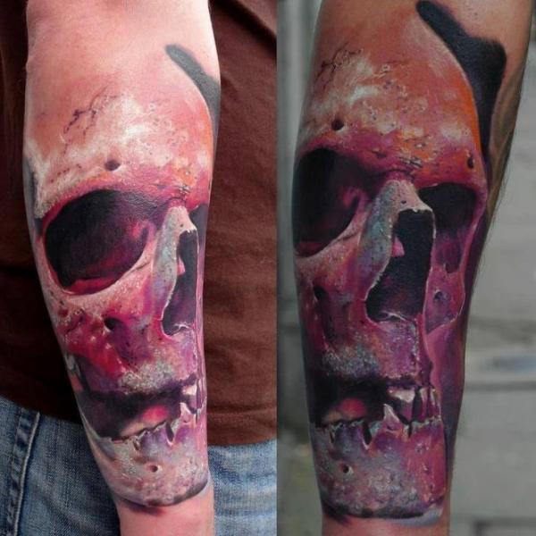 Pink Old Scull 3D tattoo by Piranha Tattoo Studio