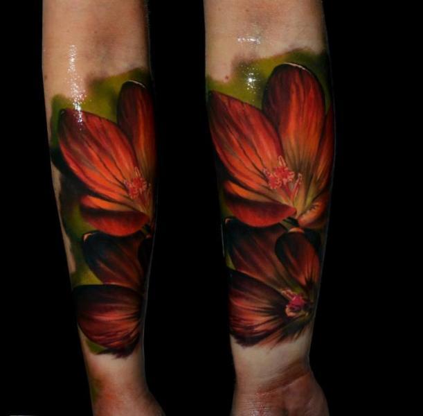 Red Flowers Realistic tattoo by Samuel Potuček