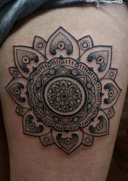 Thigh Black Mandala Dotwork tattoo