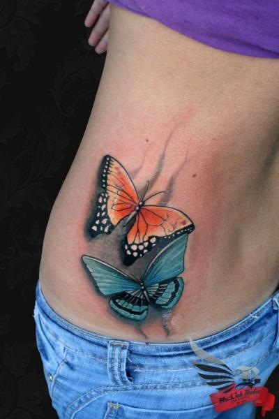 Two Butterflies tattoo by Black Ink Studio