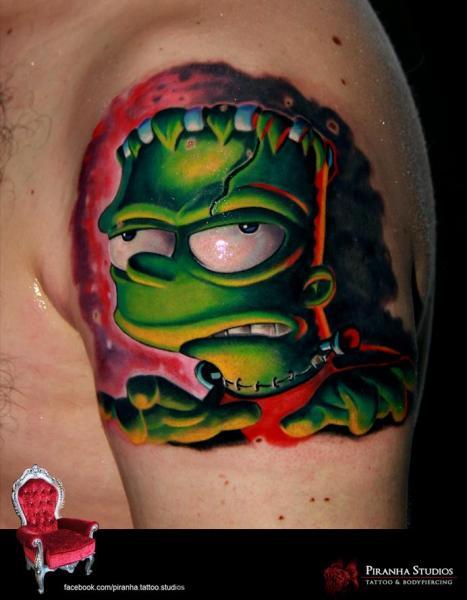 Zombie Frankenstein Bart New School tattoo