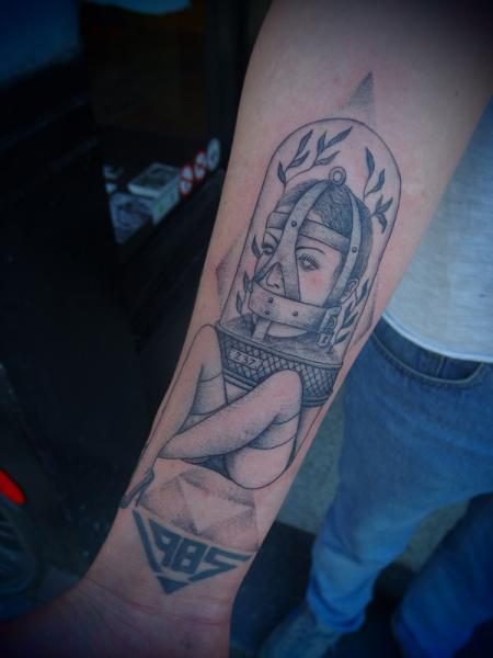 1985 Abstract Girl Dotwork tattoo by Papanatos Tattoos