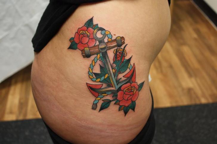 Anchor Rose Nautical tattoo by Tantrix Body Art