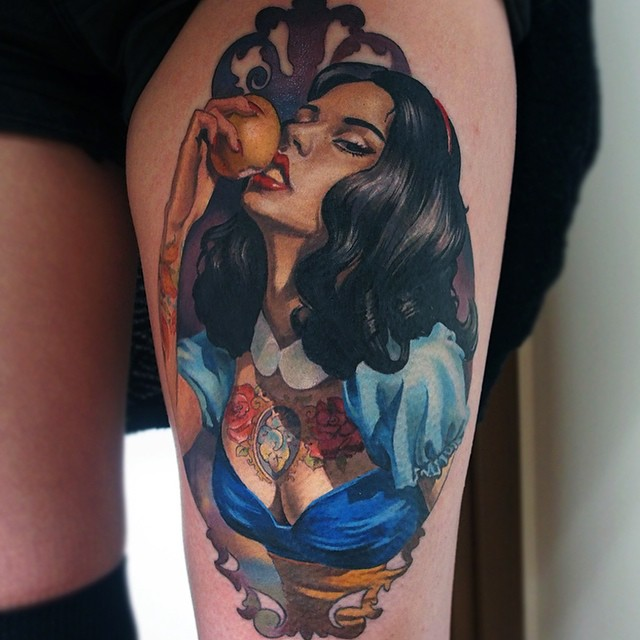 Apple Eating Sexy Gipsy Girl tattoo by Valentina Ryabova