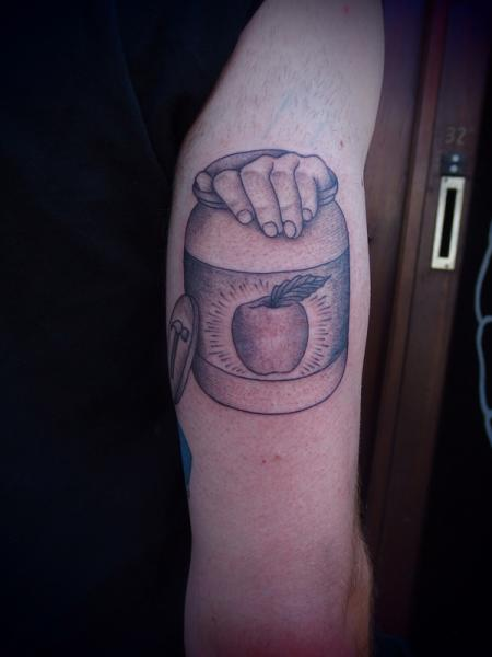 Apple in Can Dotwork tattoo by Papanatos Tattoos