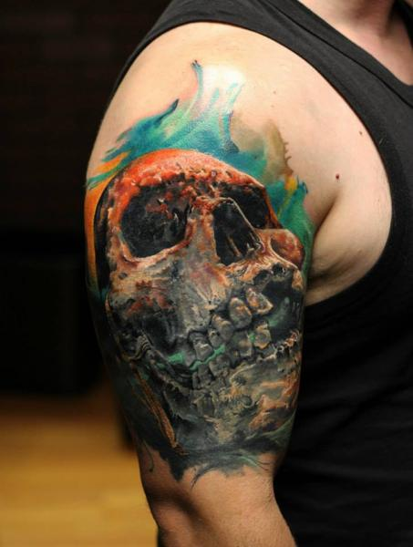 Aquarelle Background Scull tattoo by Bloodlines Gallery