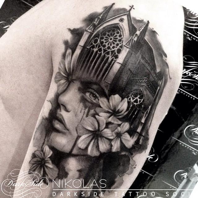 B & G Make-Up Flowed Notre Dame tattoo by Nikolas Darkside