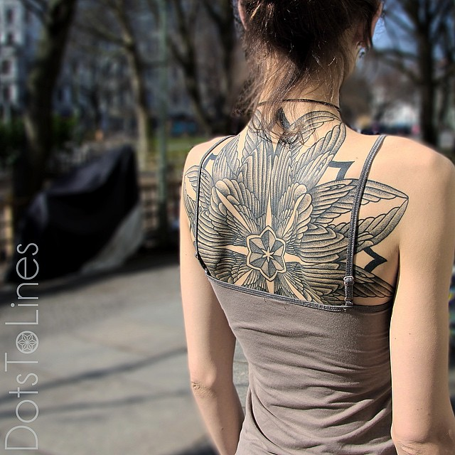 Back Mandala Wings Dotwork tattoo by Dots To Lines