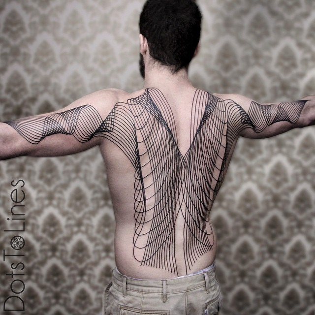 Back and Arms Wave Lines Blackwork tattoo