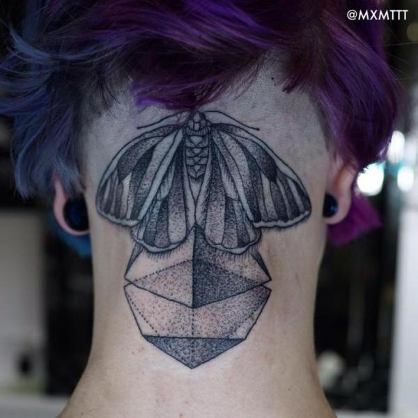 Back of The Hand Pyramid Moth Dotwork tattoo by MXM