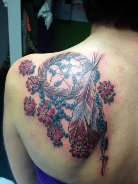 Beads Dream Catcher tattoo on Blade by Tantrix Body Art