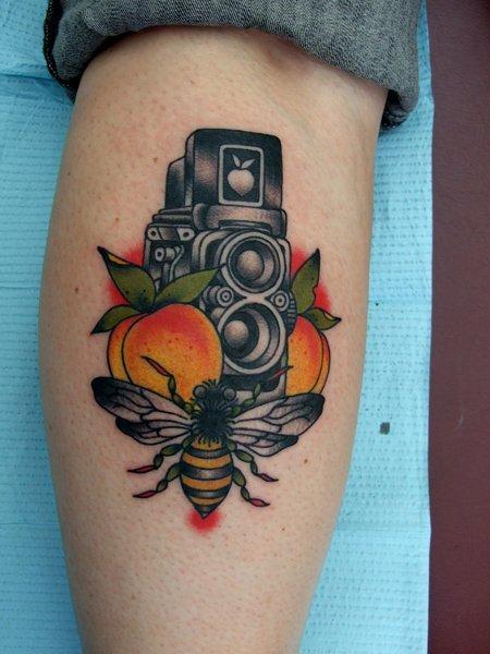 Bee Video Camera New School tattoo by Three Kings Tattoo