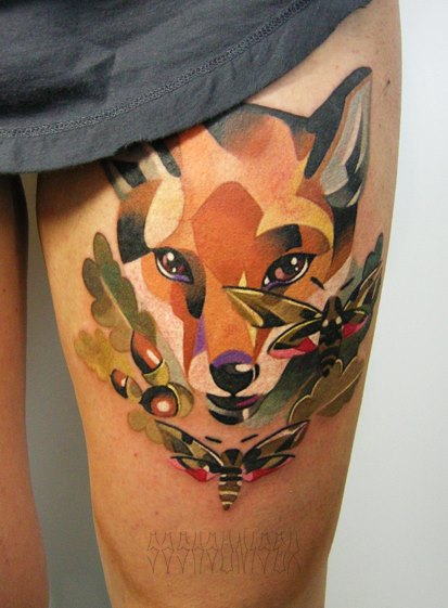 Bees and Fox tattoo by Sasha Unisex