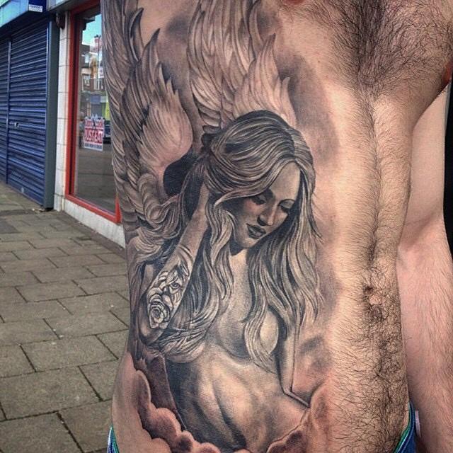 Body Side Angel Girl tattoo by Dan Hancock