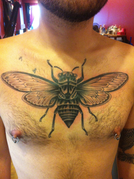 Big Fly on Chest Blackwork tattoo by Three Kings Tattoo