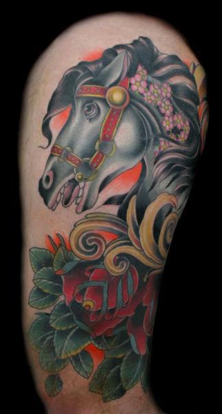 Black Horse New School tattoo by Three Kings Tattoo