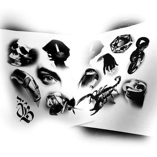 Blackwork 3D tattoo ideas by Jesse Brothers