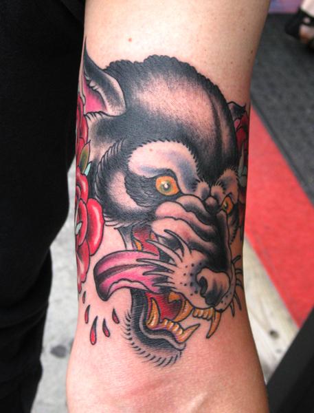 Blood Spitting Hound Old School tattoo by Three Kings Tattoo